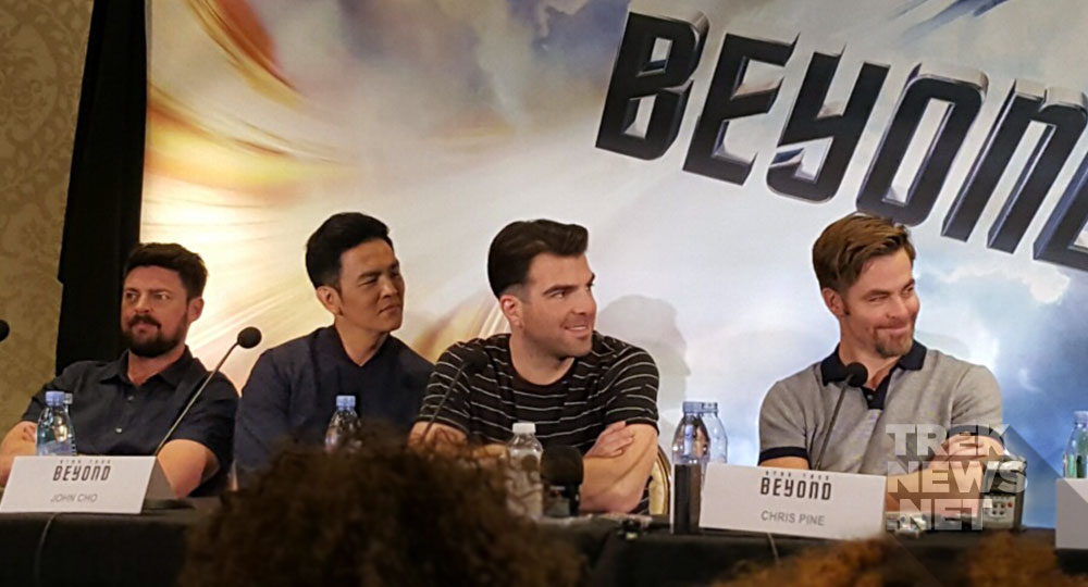 Karl Urban, John Cho, Zachary Quinto and Chris Pine