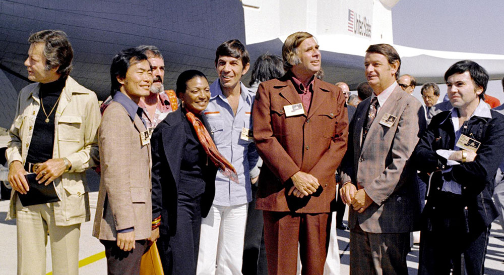 Roddenberry and the cast of Star Trek at the rollout of the Space Shuttle Enterprise in 1976