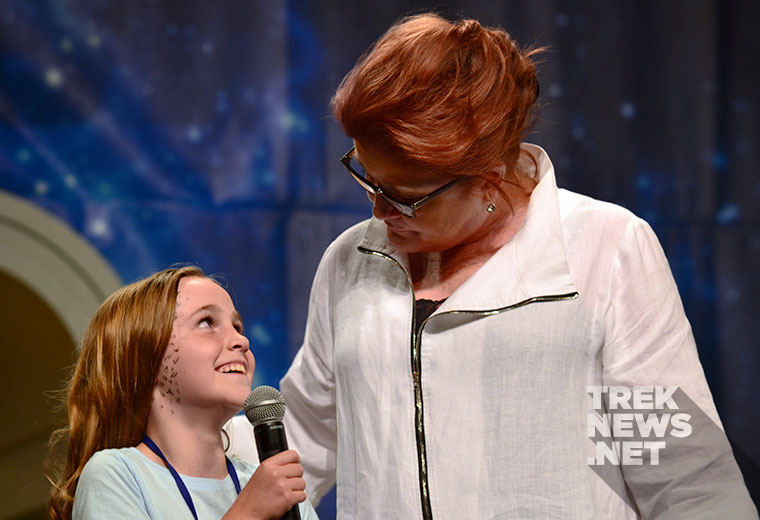 Kate Mulgrew and a young fan