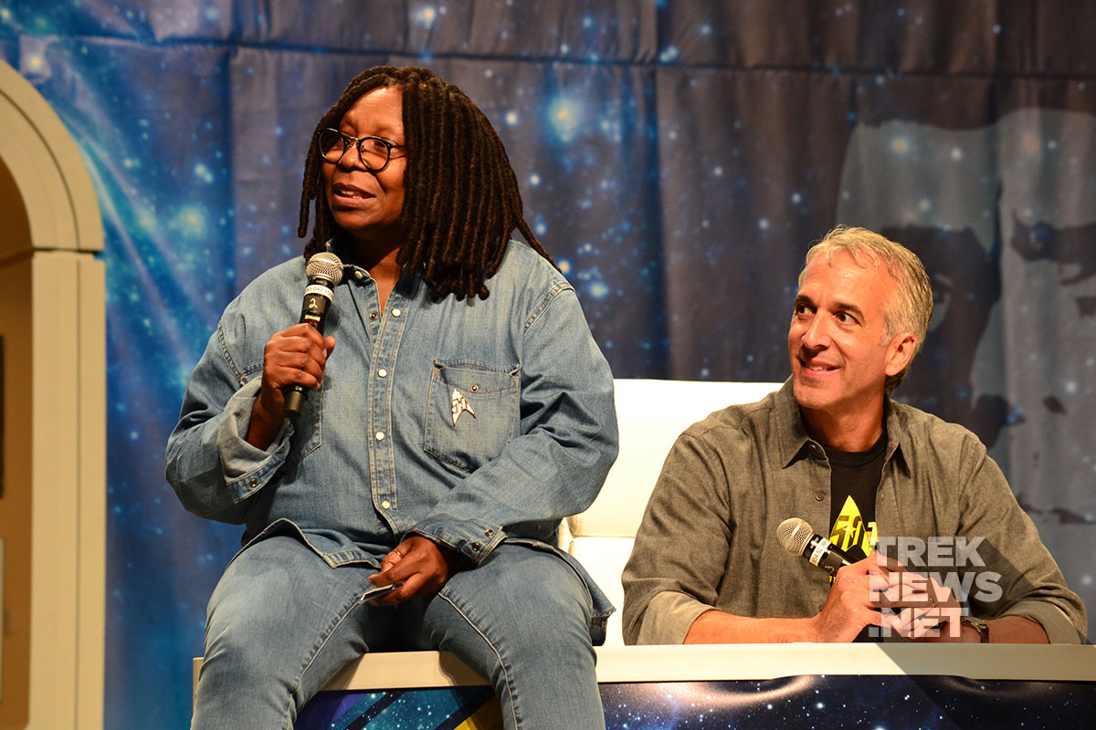 Whoopi Goldberg and Scott Mantz