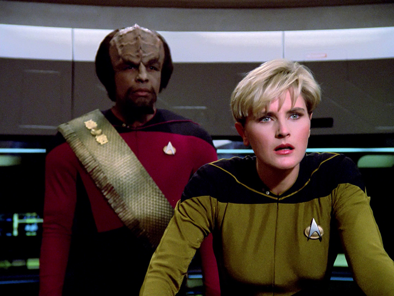 "Denise Crosby as Tasha Yar in TNG's ""The Naked Now"""