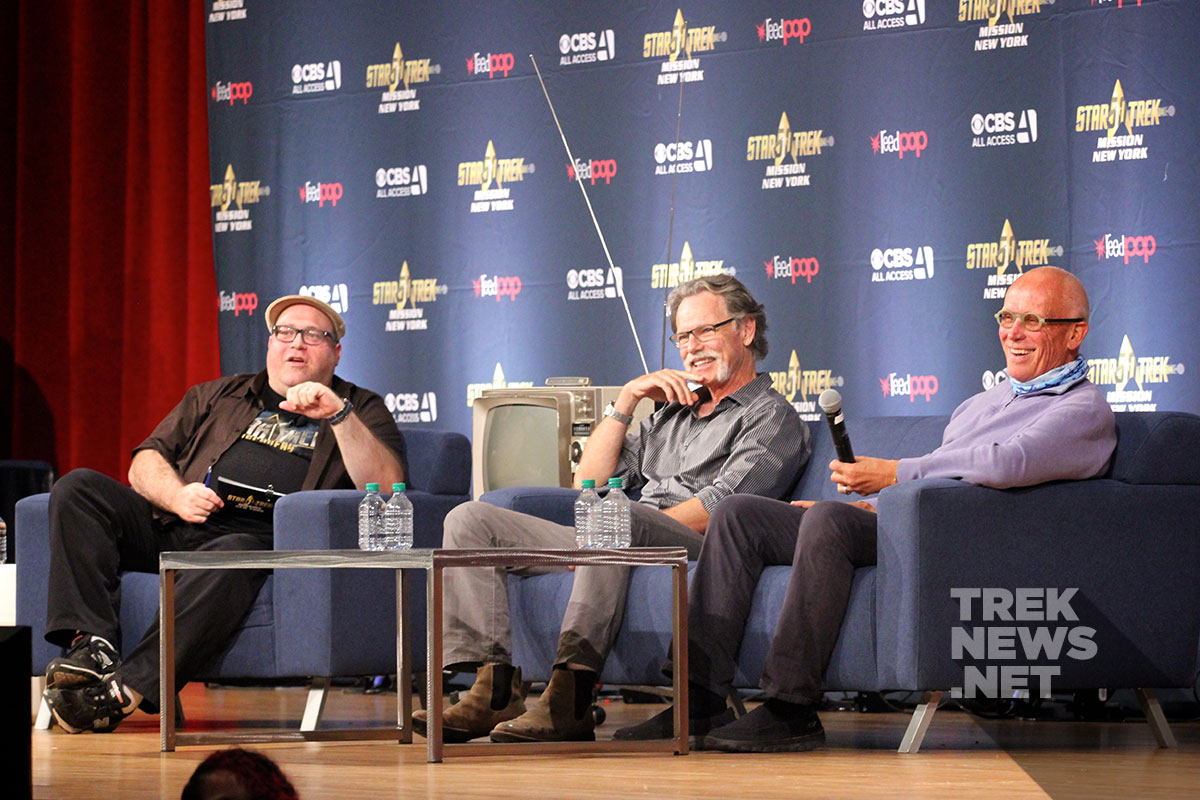 Jordan Hoffman, on stage with Bruce Greenwood and Peter Weller at Mission New York in 2016