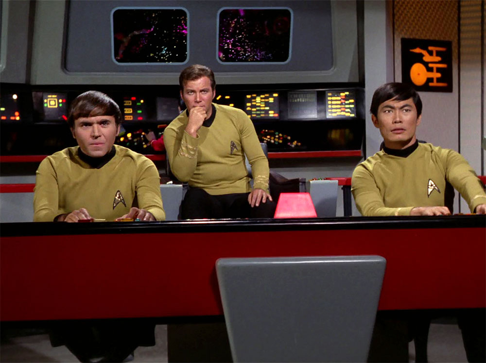 Walter Koenig, William Shatner and George Takei on the bridge of the Enterprise in The Original Series (photo: CBS Home Entertainment)
