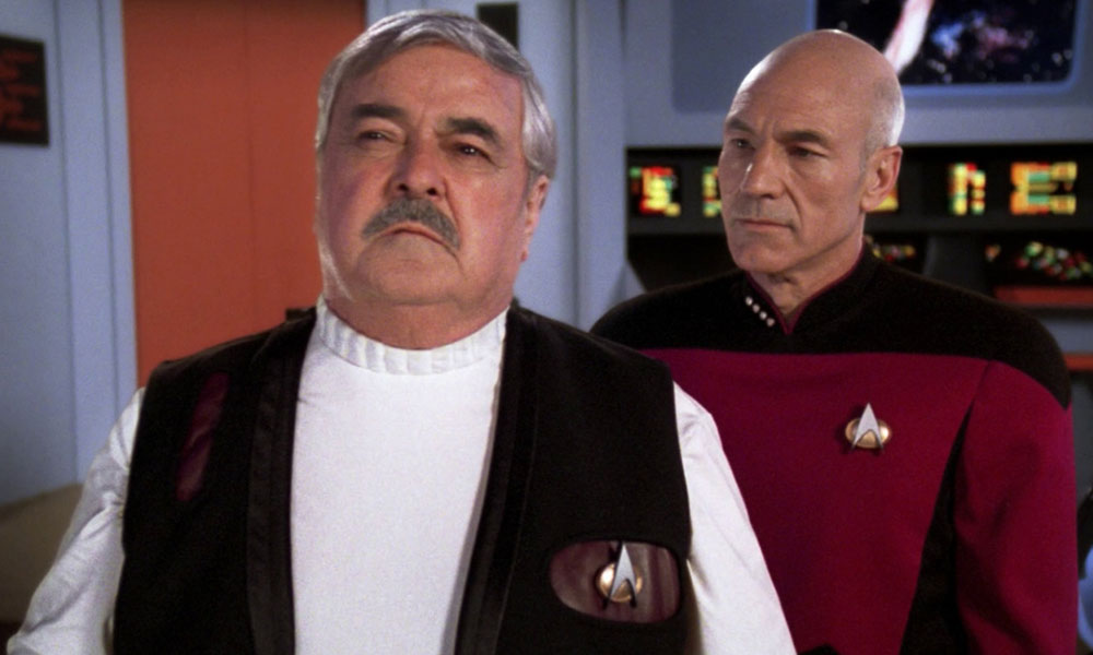 James Doohan opposite Patrick Stewart on Star Trek: The Next Generation | Photo: CBS Home Entertainment