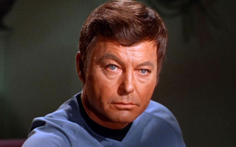 "DeForest Kelley as Doctor Leonard ""Bones"" McCoy on Star Trek: TOS"