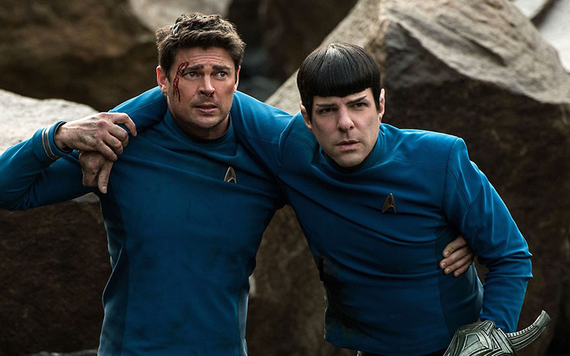 Karl Urban as McCoy and Zachary Quinto as Spock in Star Trek Beyond