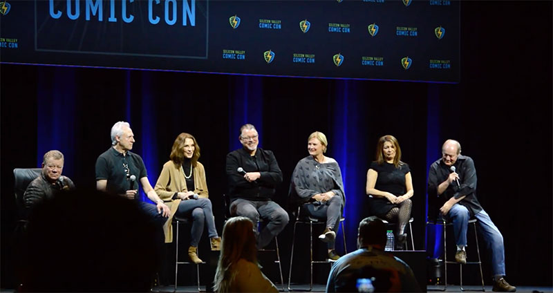 William Shatner, Brent Spiner, Gates McFadden, Jonathan Frakes, Denise Crosby, Marina Sirtis and Robert O'Reilly