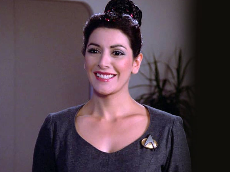 Marina Sirtis as Deanna Troi on Star Trek: The Next Generation
