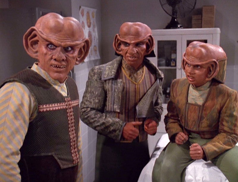 Shimerman as Quark, along with Max Grodénchik as Rom and  Aron Eisenberg as Nog on DS9