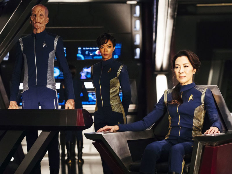Doug Jones as Lt. Saru, Sonequa Martin-Green as First Officer Michael Burnham and Michelle Yeoh as Captain Philippa Georgiou