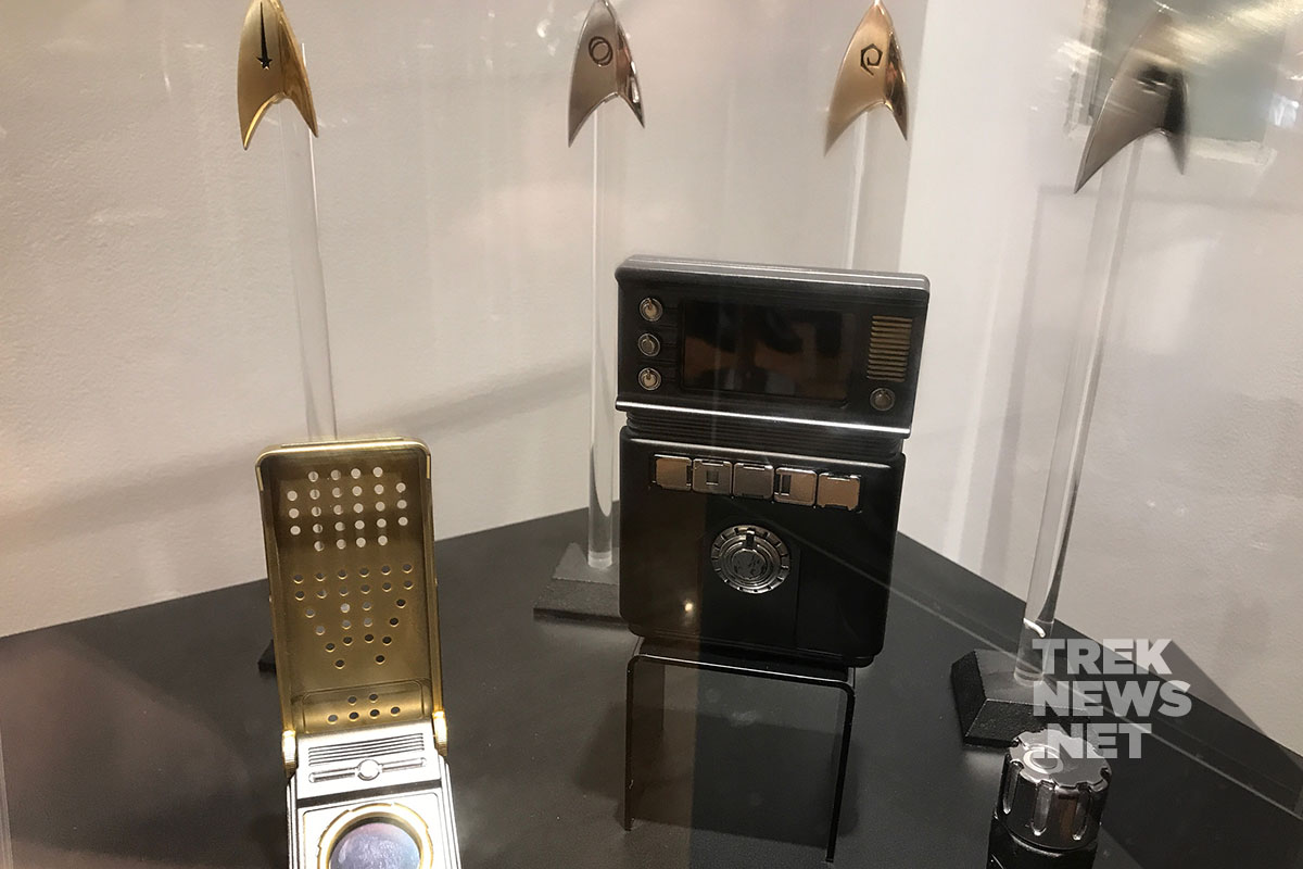 Starfleet insignia badges, communicator and tricorder