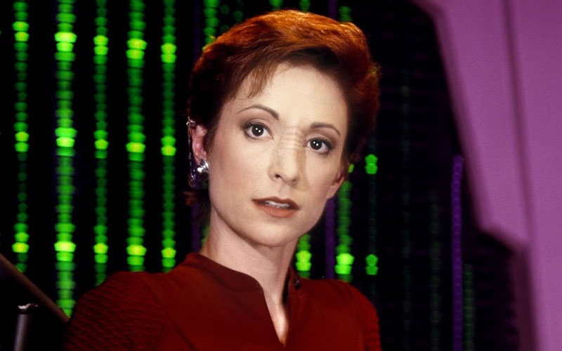 Nana Visitor as Major Kira on Star Trek: Deep Space Nine
