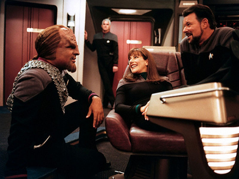 Michael Dorn as Worf, Marina Sirtis as Deanna Troi and Jonathan Frakes as William Riker on the set of the final TNG-era film Star Trek: Nemesis