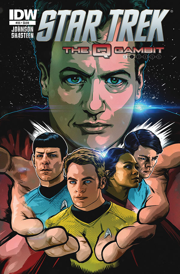 "The cover of IDW's Star Trek issue 35 ""The Q Gambit"""
