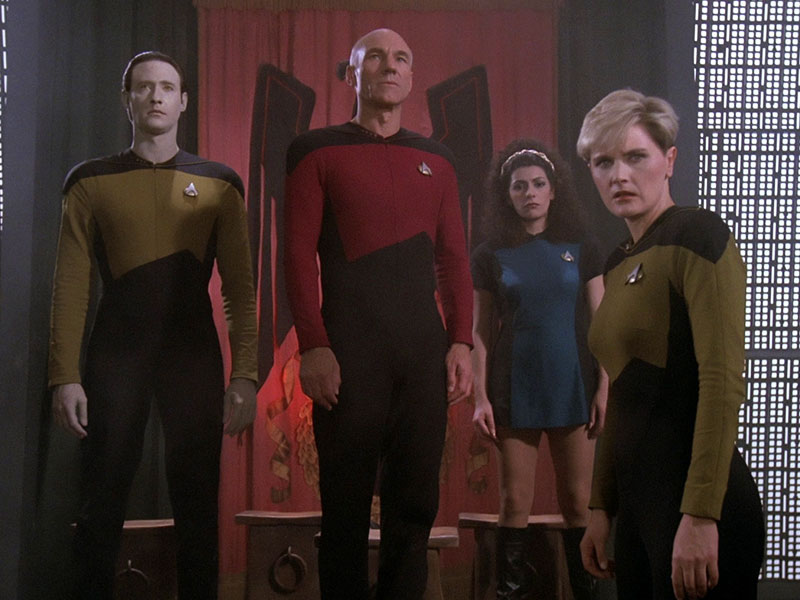 "Brent Spiner as Data, Patrick Stewart as Jean-Luc Picard, Marina Sirtis as Deanna Troi and Denise Crosby as Tasha Yar in TNG's premiere episode ""Encounter at Farpoint"""