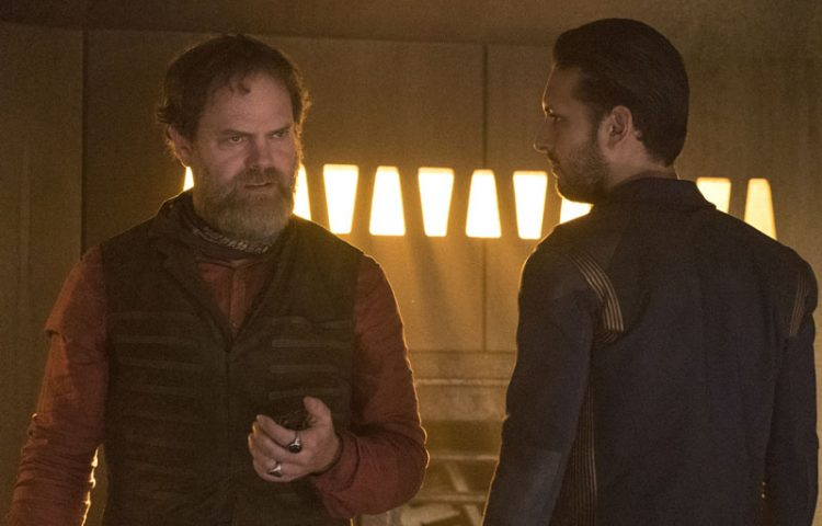 Rainn Wilson as Harry Mudd and Shazad Latif as Lieutenant Ash Tyler