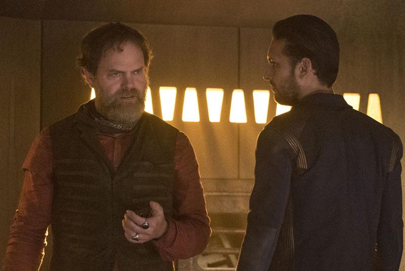 Rainn Wilson as Harry Mudd and Shazad Latif as Lieutenant Ash Tyler