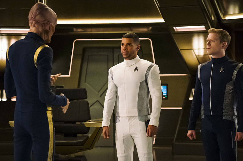 Doug Jones as Saru, Wilson Cruz as Dr. Hugh Culber and Anthony Rapp as Lieutenant Paul Stamets