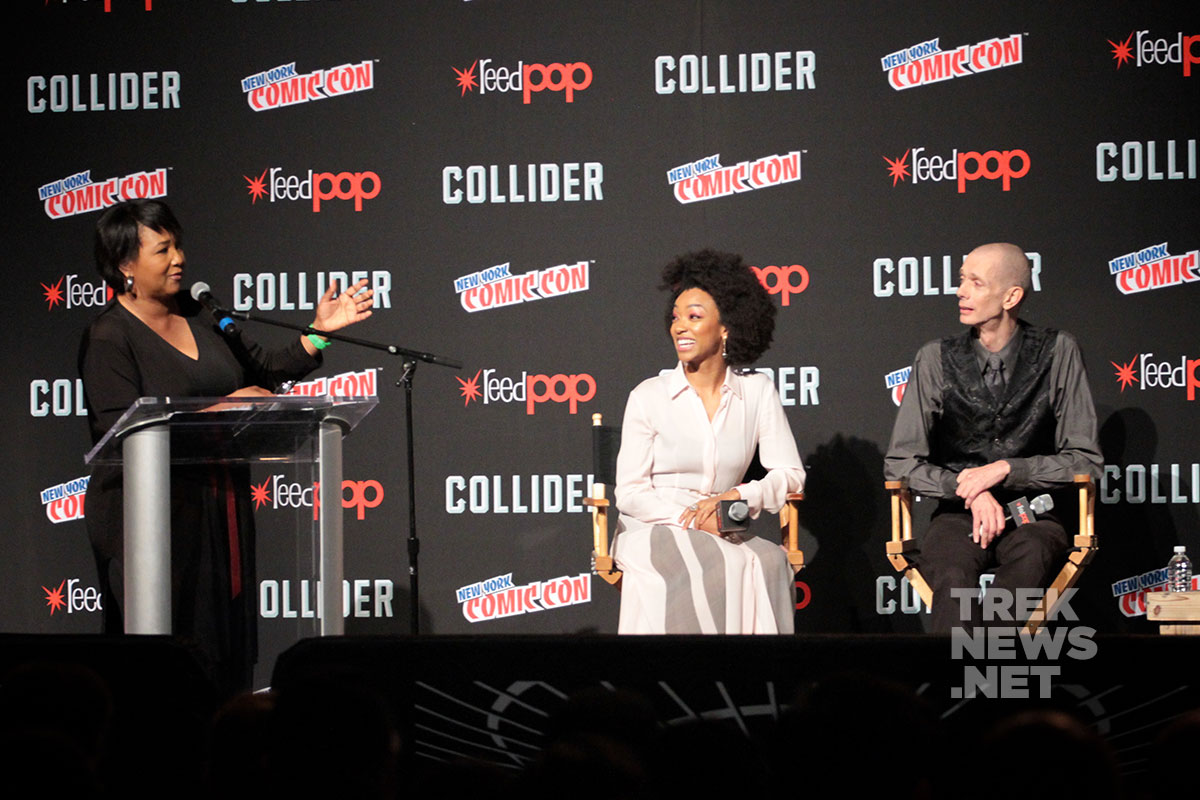 Dr. Mae Jemison with Sonequa Martin-Green and Doug Jones