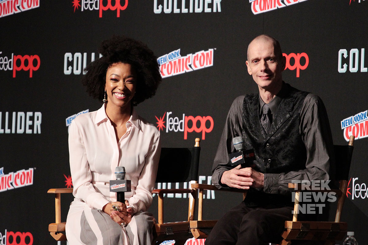 Sonequa Martin-Green and Doug Jones