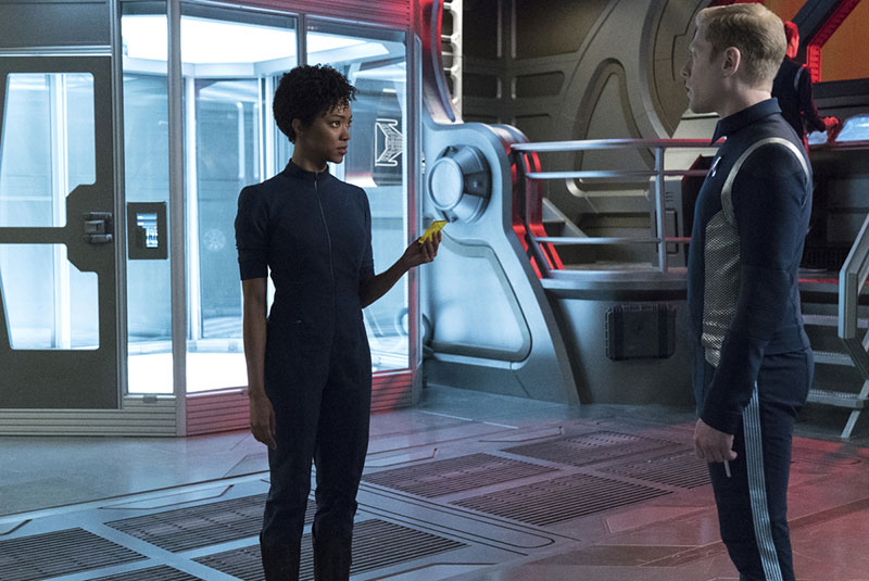 Sonequa Martin-Green as First Officer Michael Burnham and Anthony Rapp as Lieutenant Paul Stamets