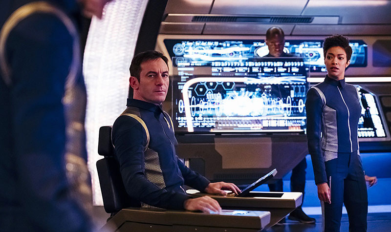 Jason Isaacs as Captain Gabriel Lorca and Sonequa Martin-Green as Michael Burnham