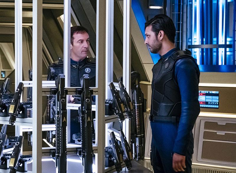 Jason Isaacs as Captain Gabriel Lorca and Shazad Latif as Lieutenant Ash Tyler