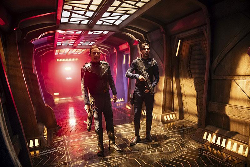 Shazad Latif as Lieutenant Ash Tyler and Jason Isaacs as Captain Gabriel Lorca