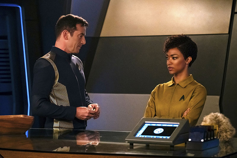 Jason Isaacs as Captain Gabriel Lorca and Sonequa Martin-Green as First Officer Michael Burnham