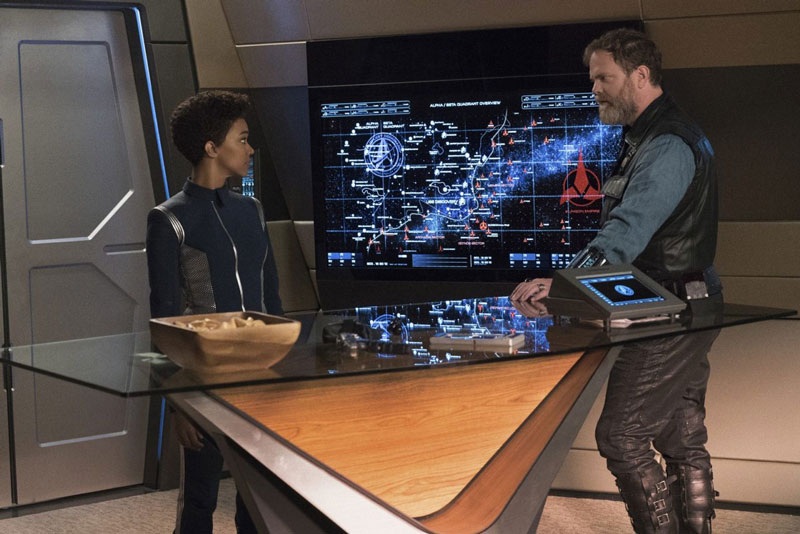Sonequa Martin-Green as Michael Burnham and Rainn Wilson as Harry Mudd