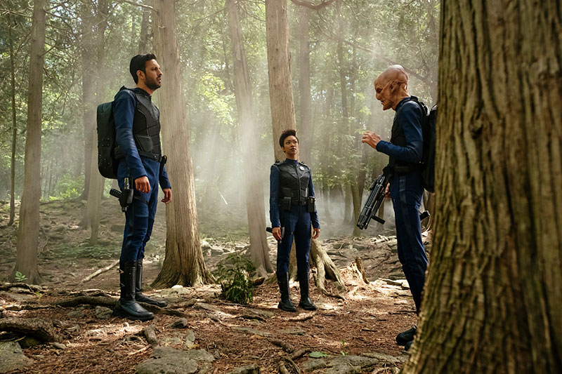 Shazad Latif as Lieutenant Ash Tyler,  Sonequa Martin-Green as Michael Burnham and Doug Jones as Saru