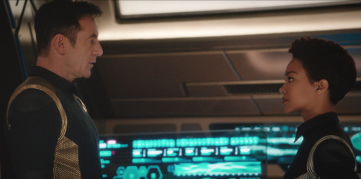 Jason Isaacs as Captain Gabriel Lorca and Sonequa Martin-Green as Michael Burnham