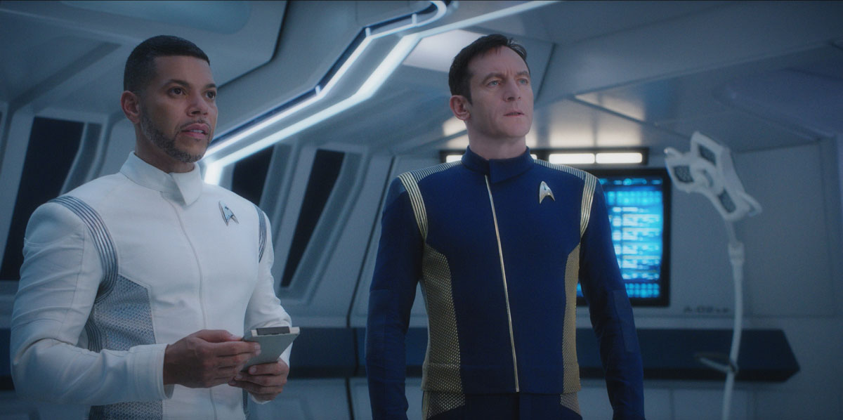 Wilson Cruz as Dr. Hugh Culber and Jason Isaacs as Captain Gabriel Lorca