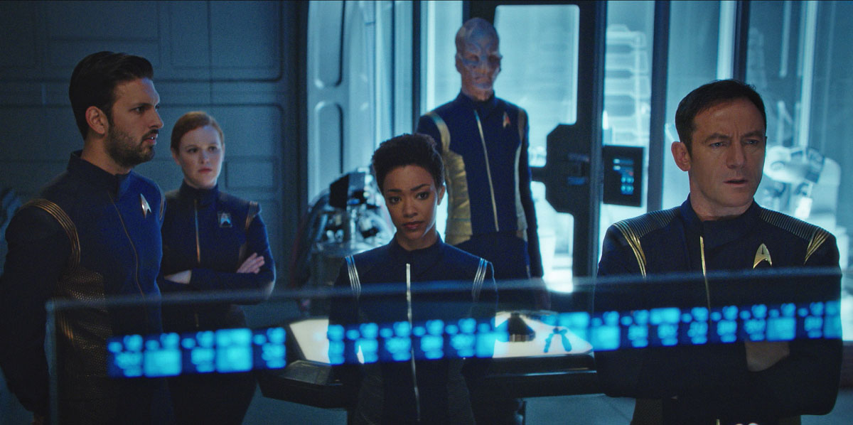 Shazad Latif as Lieutenant Ash Tyler, Mary Wiseman as Cadet Sylvia Tilly, Sonequa Martin-Green as Michael Burnham, Doug Jones as Lieutenant Saru and Jason Isaacs as Captain Gabriel Lorca