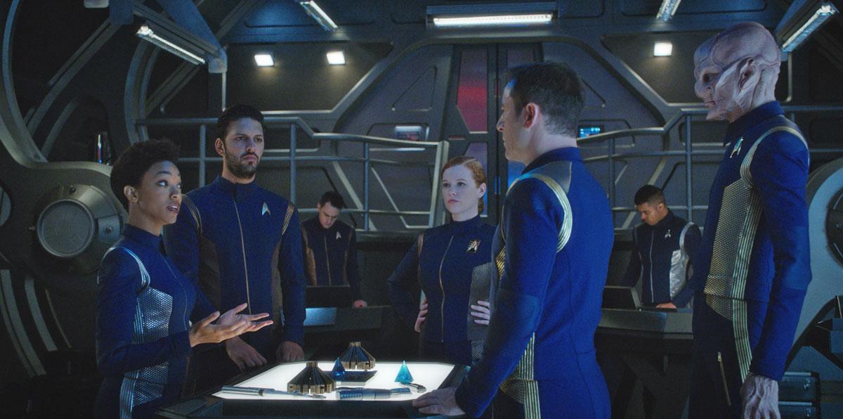 Sonequa Martin-Green as Michael Burnham, Shazad Latif as Lieutenant Ash Tyler, Mary Wiseman as Cadet Sylvia Tilly, Doug Jones as Lieutenant Saru and Jason Isaacs as Captain Gabriel Lorca