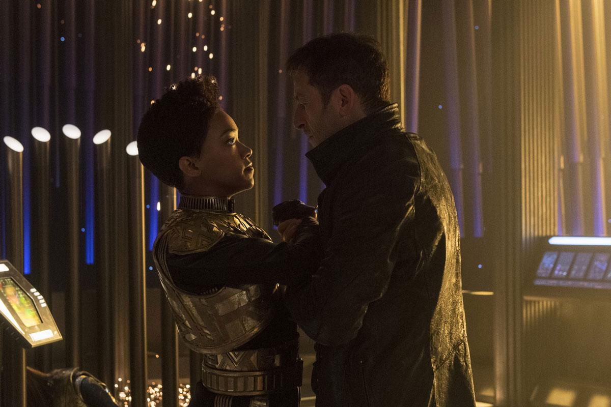 Sonequa Martin-Green as Michael Burnham and Jason Isaacs as Gabriel Lorca