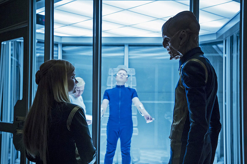 Mary Wiseman as Sylvia Tilly, Anthony Rapp as Paul Stamets and Doug Jones as Saru