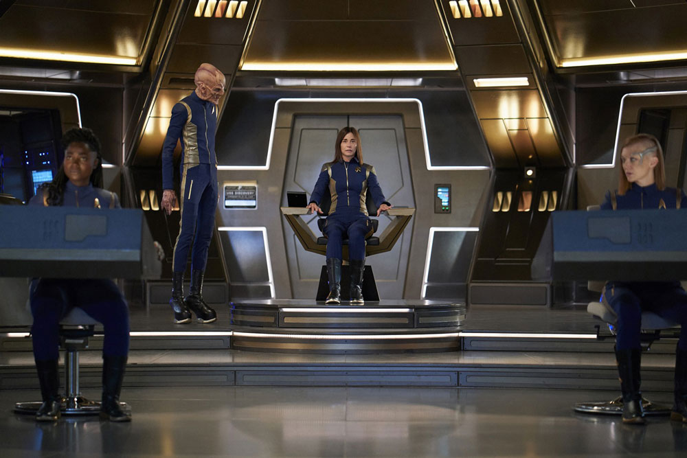 Oyin Oladejo as Lieutenant Junior Grade Joann Owosekun, Doug Jones as Saru, Jayne Brook as Admiral Cornwell and Emily Coutts as Lieutenant Keyla Detmer