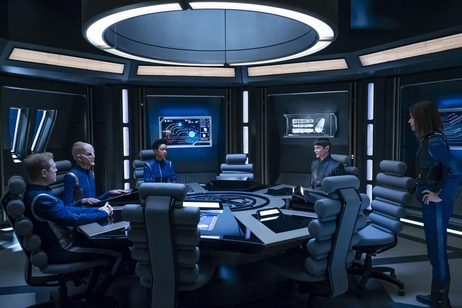 Anthony Rapp as Lieutenant Paul Stamets, Doug Jones as Saru, Sonequa Martin-Green as Michael Burnham, James Frain as Ambassador Sarek and Jayne Brook as Admiral Cornwell
