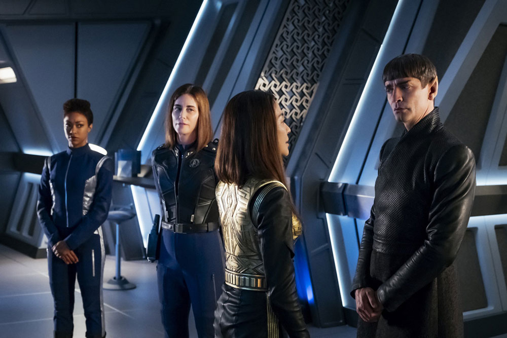 Sonequa Martin-Green as Michael Burnham, Jayne Brook as Admiral Cornwell, Michelle Yeoh as Philippa Georgiou and James Frain as Ambassador Sarek
