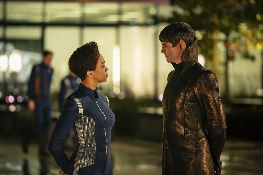 Sonequa Martin-Green as Michael Burnham and James Frain as Sarek