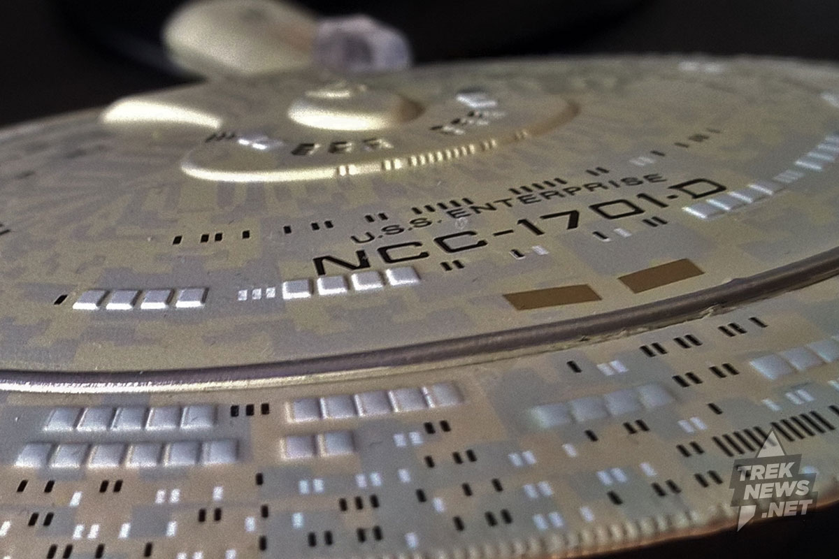 Close-up saucer shot of the Enterprise-D. Note the extreme detail.