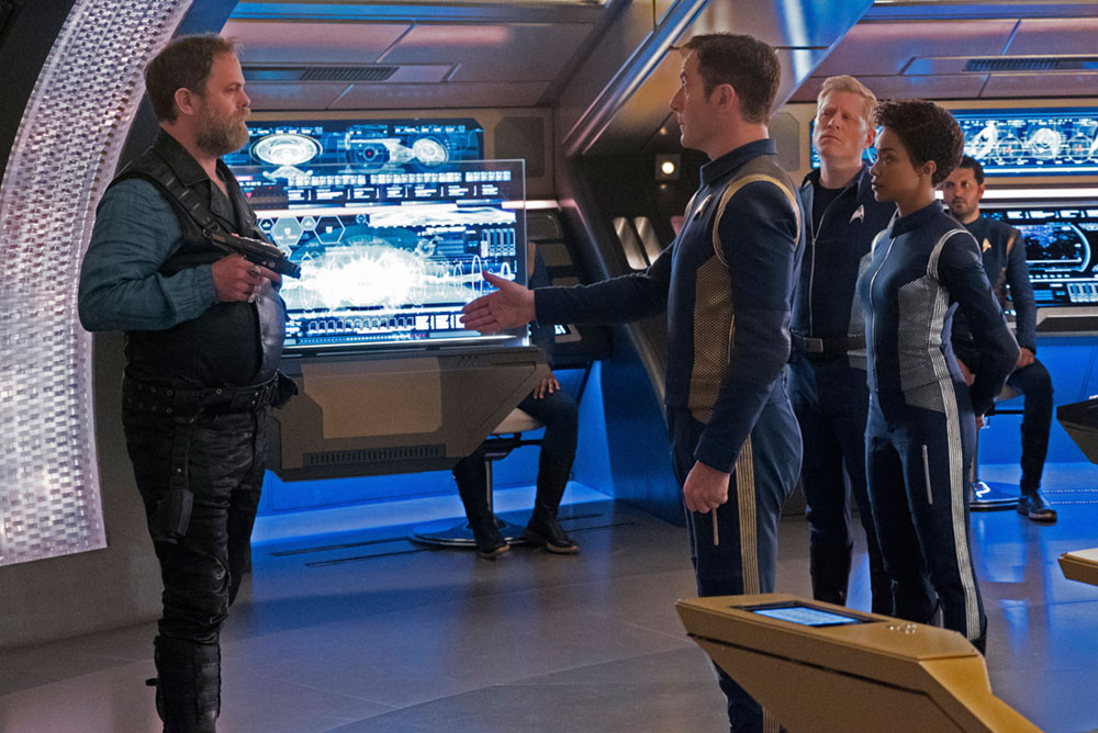 Rainn Wilson as Harry Mudd, Jason Isaacs as Captain Gabriel Lorca, Sonequa Martin-Green as First Officer Michael Burnham, Anthony Rapp as Lieutenant Paul Stamets and Shazad Latif as Lieutenant Ash Tyler