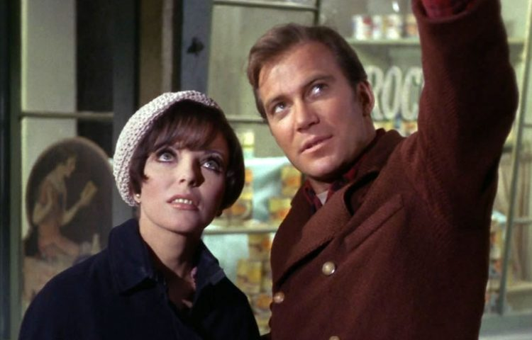 "Joan Collins as Sister Edith Keeler and William Shatner as James T. Kirk in ""The City on the Edge of Forever"""
