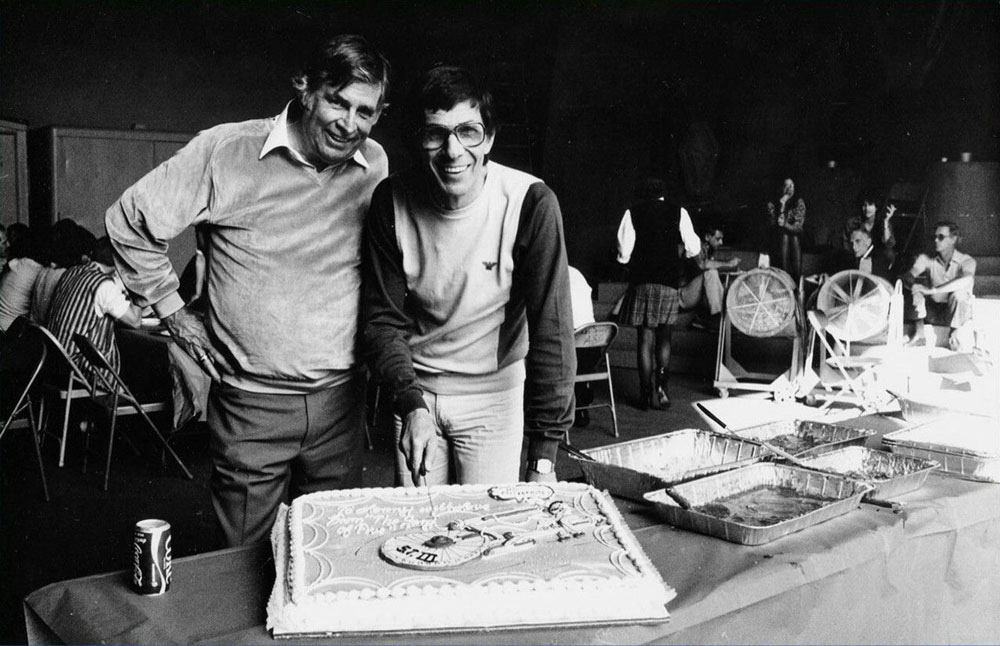 Roddenberry and Leonard Nimoy in 1983