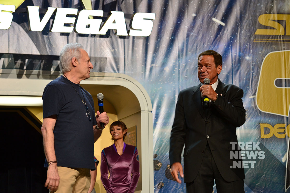 Brent Spiner and Joe Piscopo make their entrance onto the STLV stage
