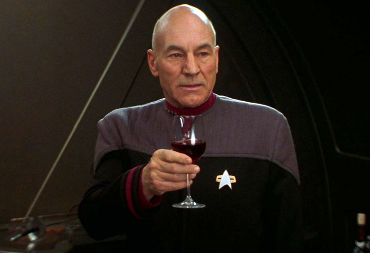 Patrick Stewart as Captain Jean-Luc Picard, in the final scene of Star Trek: Nemesis