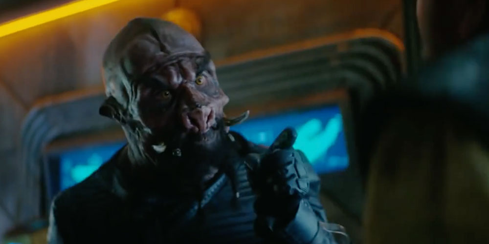 Harry Judge as the Tellarite bounty hunter Tevrin Krit
