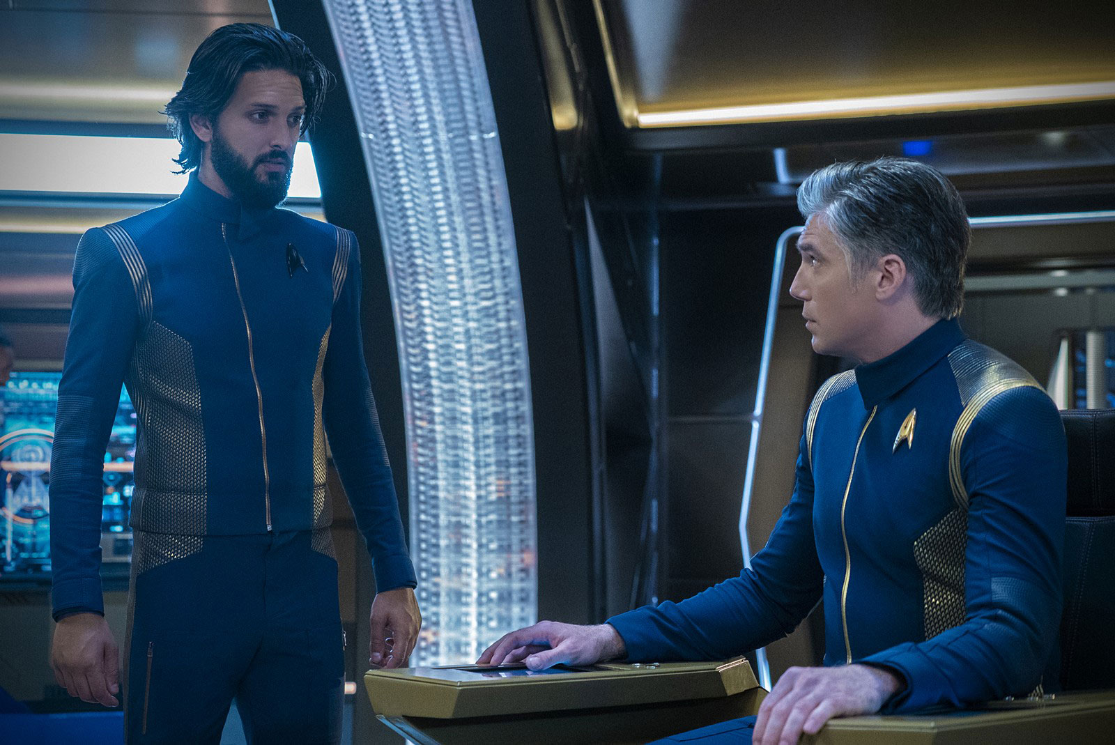 Shazad Latif as Ash Tyler and Anson Mount as Christopher Pike