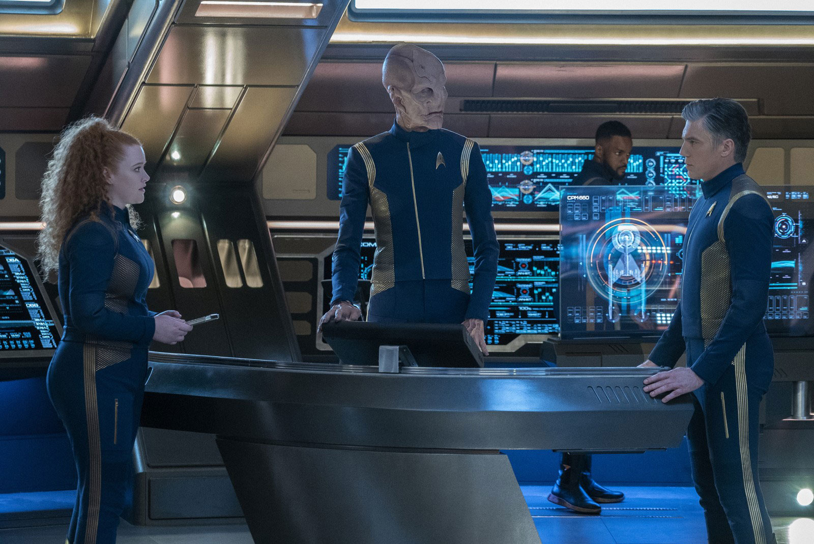 Mary Wiseman as Sylvia Tilly, Doug Jones as Saru and Anson Mount as Christopher Pike